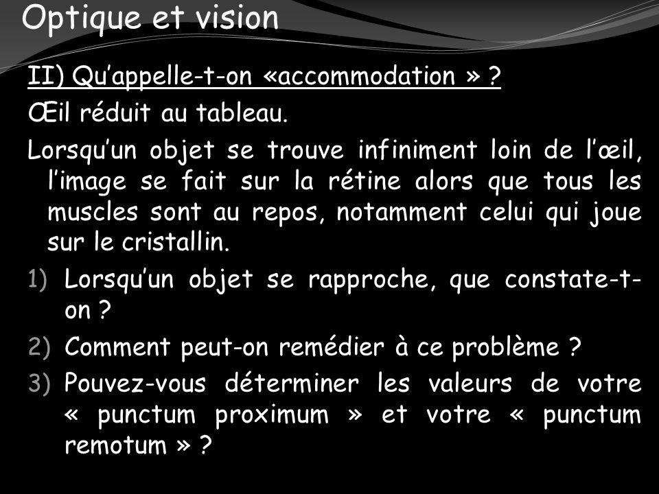 Optique et vision II) Quappelle-t-on «accommodation » ? Œil réduit au tableau. Lorsquun objet se trouve infiniment loin de lœil, limage se fait sur la