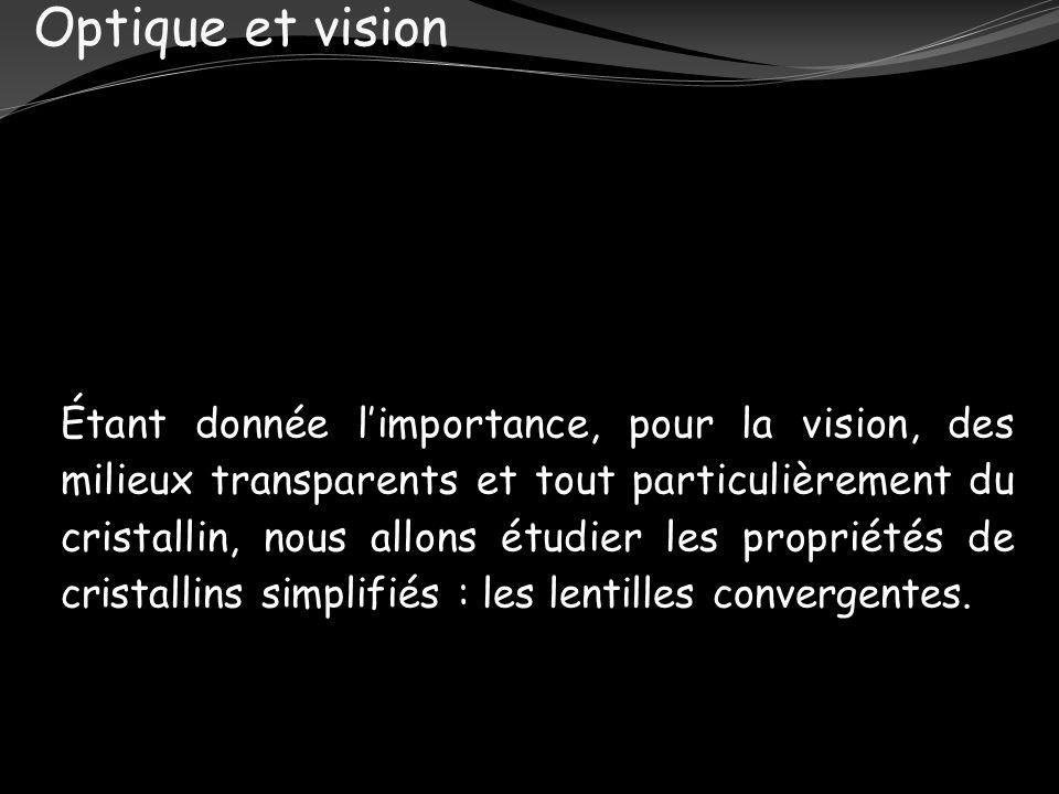 Optique et vision Étant donnée limportance, pour la vision, des milieux transparents et tout particulièrement du cristallin, nous allons étudier les p