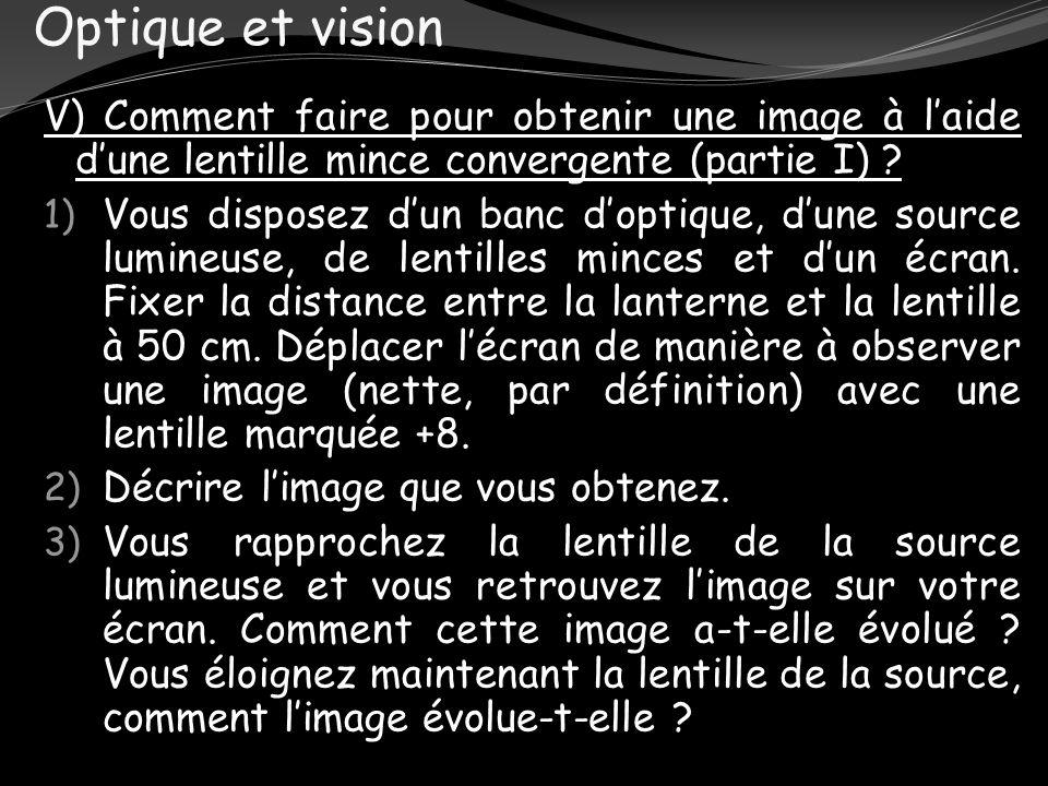 Optique et vision V) Comment faire pour obtenir une image à laide dune lentille mince convergente (partie I) ? 1) Vous disposez dun banc doptique, dun