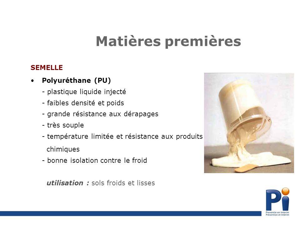 Matières premières SEMELLE Polyuréthane (PU) - plastique liquide injecté - faibles densité et poids - grande résistance aux dérapages - très souple - température limitée et résistance aux produits chimiques - bonne isolation contre le froid utilisation : sols froids et lisses