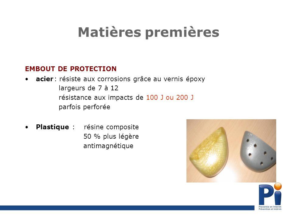 Matières premières EMBOUT DE PROTECTION acier: résiste aux corrosions grâce au vernis époxy largeurs de 7 à 12 résistance aux impacts de 100 J ou 200 J parfois perforée Plastique : résine composite 50 % plus légère antimagnétique