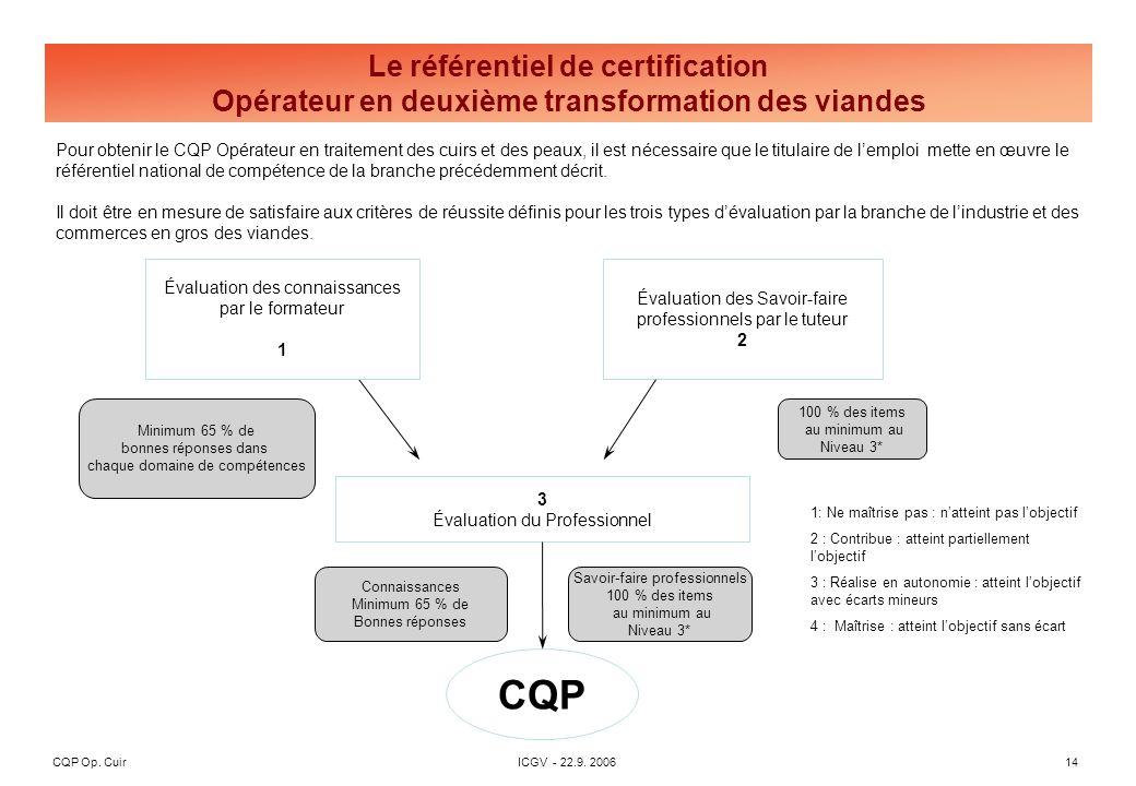 CQP Op. CuirICGV - 22.9. 200614 Pour obtenir le CQP Opérateur en traitement des cuirs et des peaux, il est nécessaire que le titulaire de lemploi mett