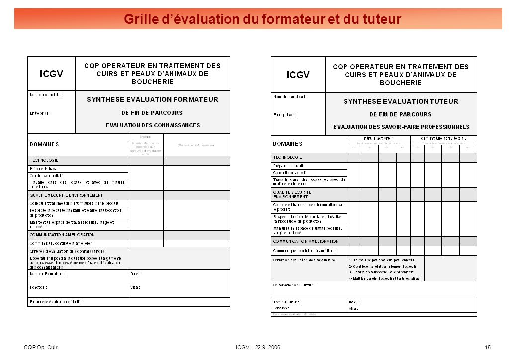 CQP Op. CuirICGV - 22.9. 200615 Grille dévaluation du formateur et du tuteur
