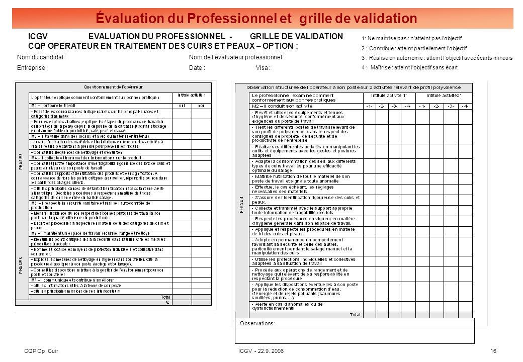 CQP Op. CuirICGV - 22.9. 200616 Évaluation du Professionnel et grille de validation ICGV EVALUATION DU PROFESSIONNEL - GRILLE DE VALIDATION CQP OPERAT