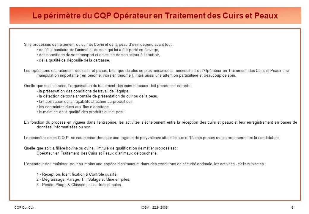CQP Op. CuirICGV - 22.9. 20065 Si le processus de traitement du cuir de bovin et de la peau d'ovin dépend avant tout : de l'état sanitaire de l'animal