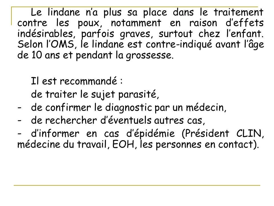 Le lindane na plus sa place dans le traitement contre les poux, notamment en raison deffets indésirables, parfois graves, surtout chez lenfant. Selon