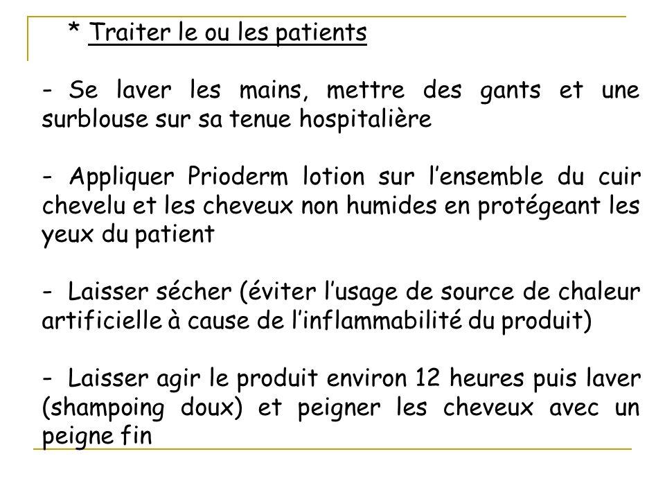 * Traiter le ou les patients - Se laver les mains, mettre des gants et une surblouse sur sa tenue hospitalière - Appliquer Prioderm lotion sur lensemb