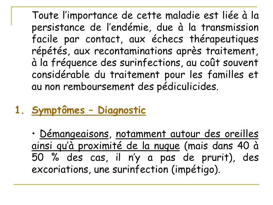 Toute limportance de cette maladie est liée à la persistance de lendémie, due à la transmission facile par contact, aux échecs thérapeutiques répétés,