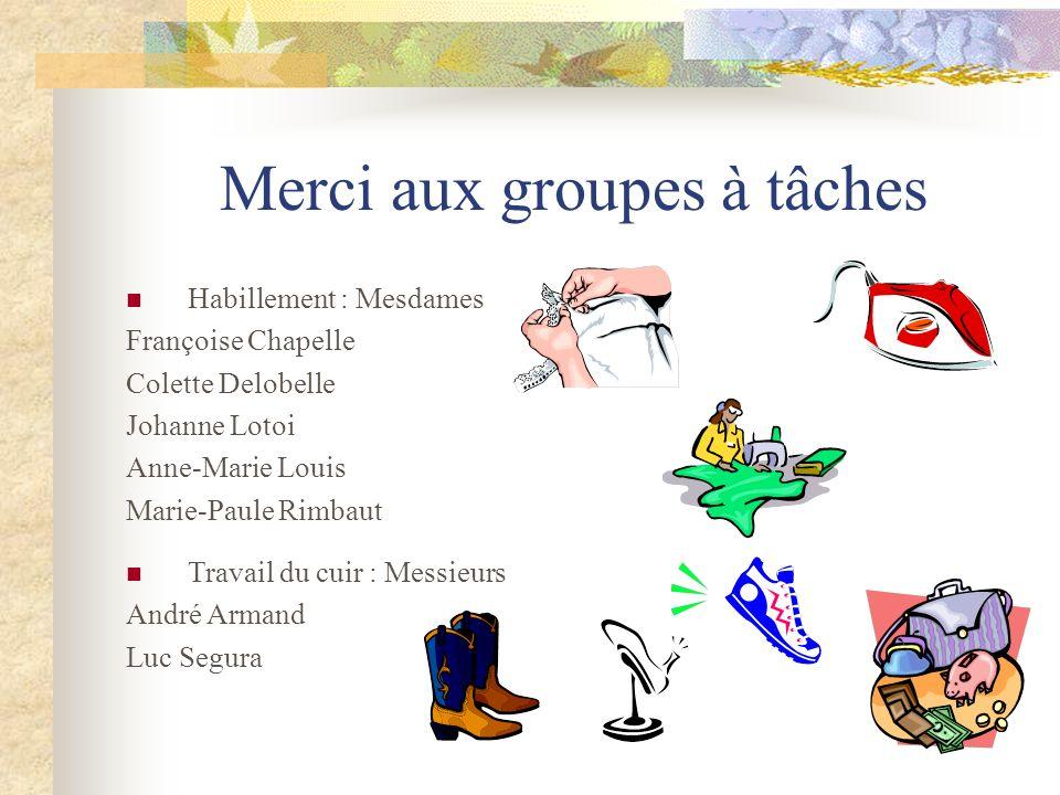 Merci aux groupes à tâches Habillement : Mesdames Françoise Chapelle Colette Delobelle Johanne Lotoi Anne-Marie Louis Marie-Paule Rimbaut Travail du c