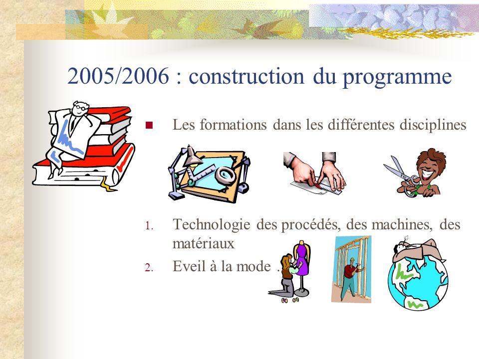 2005/2006 : construction du programme Les formations dans les différentes disciplines 1. Technologie des procédés, des machines, des matériaux 2. Evei