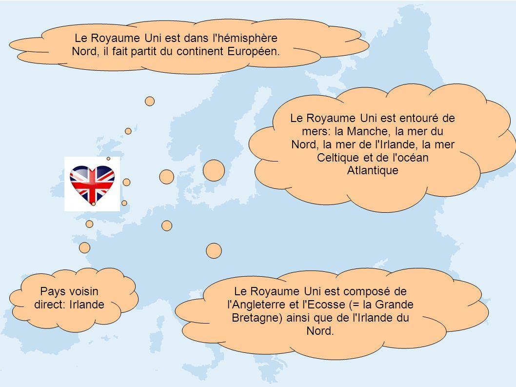 Le Royaume Uni est dans l'hémisphère Nord, il fait partit du continent Européen. Pays voisin direct: Irlande Le Royaume Uni est composé de l'Angleterr