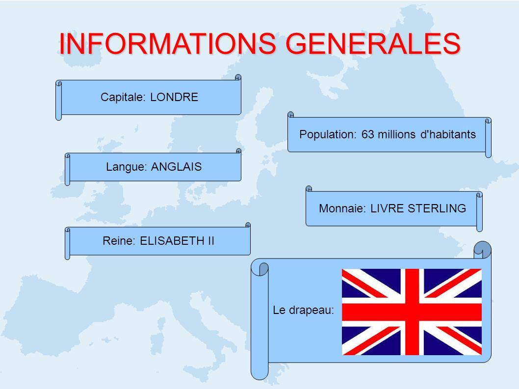 Le drapeau: INFORMATIONS GENERALES Capitale: LONDRE Population: 63 millions d'habitants Langue: ANGLAIS Monnaie: LIVRE STERLING Reine: ELISABETH II