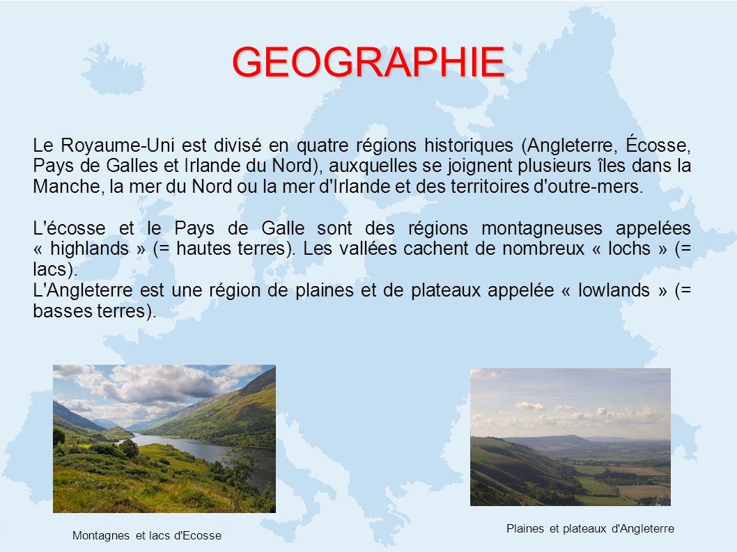 GEOGRAPHIE Le Royaume-Uni est divisé en quatre régions historiques (Angleterre, Écosse, Pays de Galles et Irlande du Nord), auxquelles se joignent plu