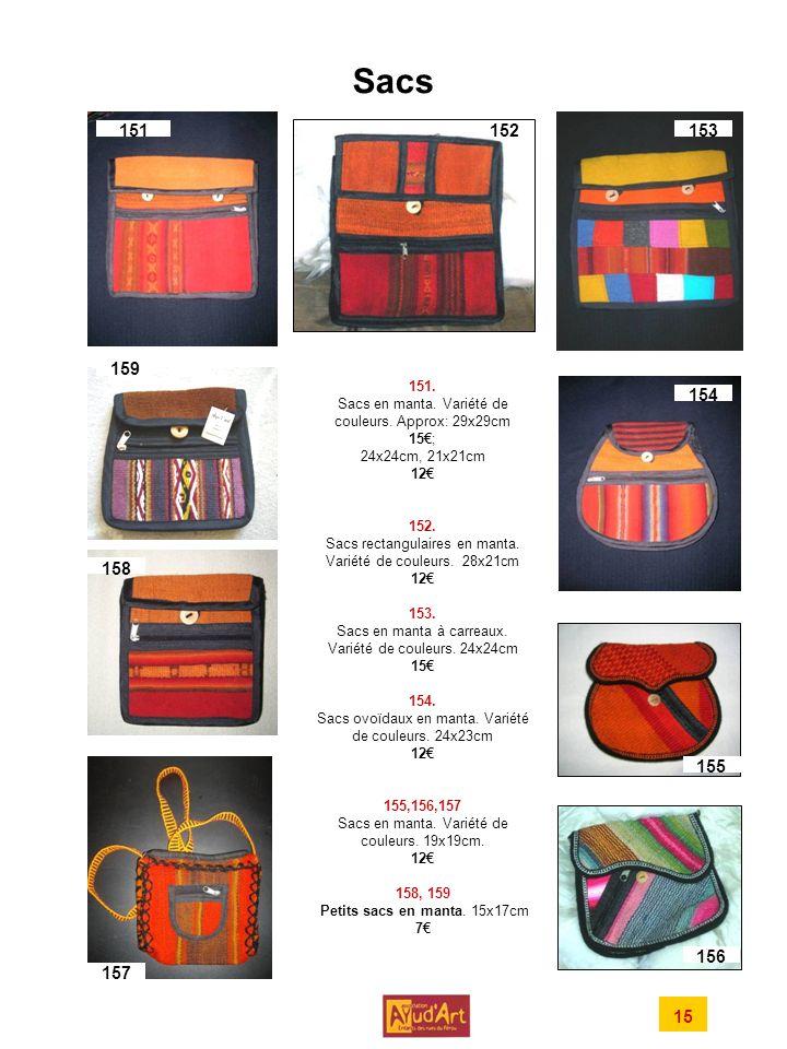 Sacs 151.Sacs en manta. Variété de couleurs. Approx: 29x29cm 15; 24x24cm, 21x21cm 12 152.