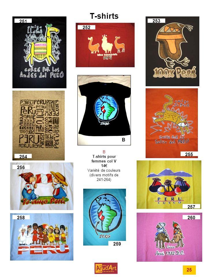T-shirts 251 252 253 254 256 257 258260 B B T-shirts pour femmes col V 14 Variété de couleurs (divers motifs de 241-264) 259 255 25