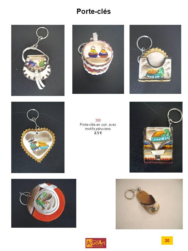 Porte-clés 300 Porte-clés en cuir, avec motifs péruviens 2.5 30