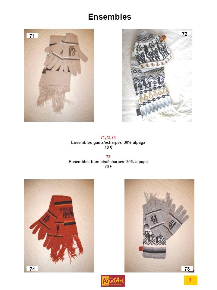 Ensembles 7 71,73,74 Ensembles gants/écharpes 30% alpaga 18 72 Ensembles bonnets/écharpes 30% alpaga 20 71 72 74 73
