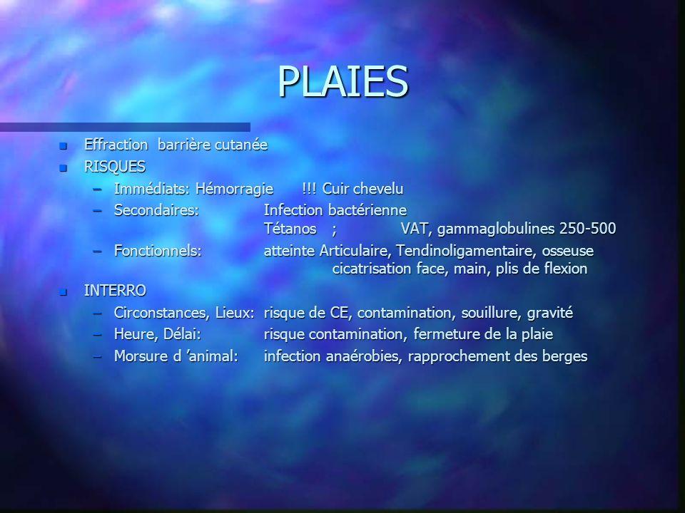 n PRISE EN CHARGE –NettoyageDécontamination –Installation du patient:confort, exposition, luminosité –Antalgiques .