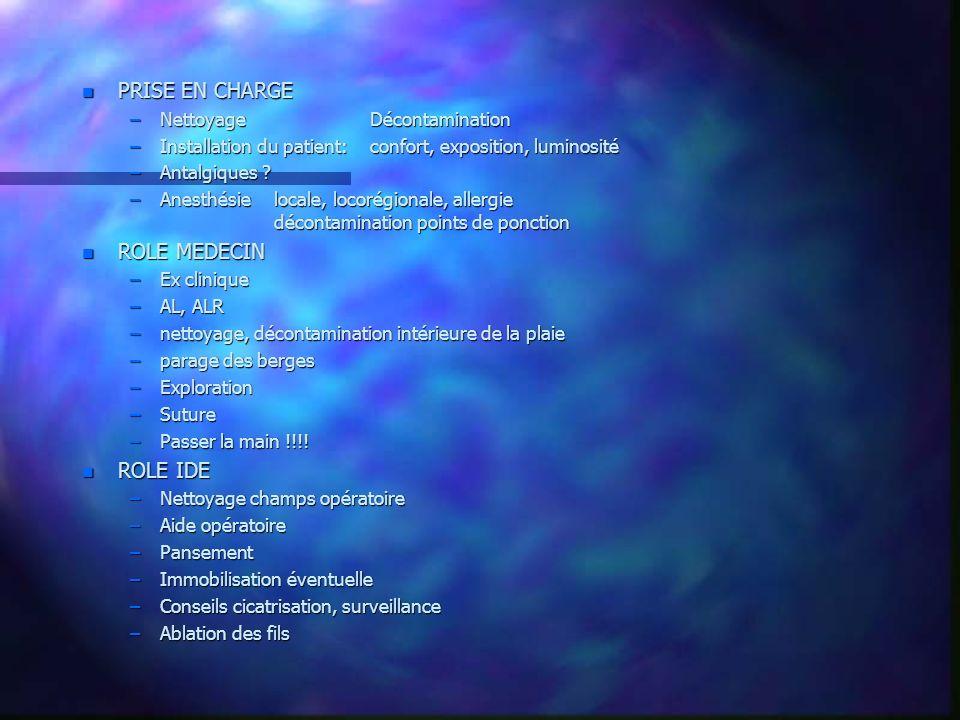 n PRISE EN CHARGE –NettoyageDécontamination –Installation du patient:confort, exposition, luminosité –Antalgiques ? –Anesthésielocale, locorégionale,