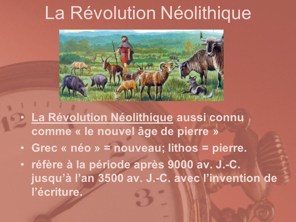 La Révolution Néolithique La Révolution Néolithique aussi connu comme « le nouvel âge de pierre » Grec « néo » = nouveau; lithos = pierre. réfère à la