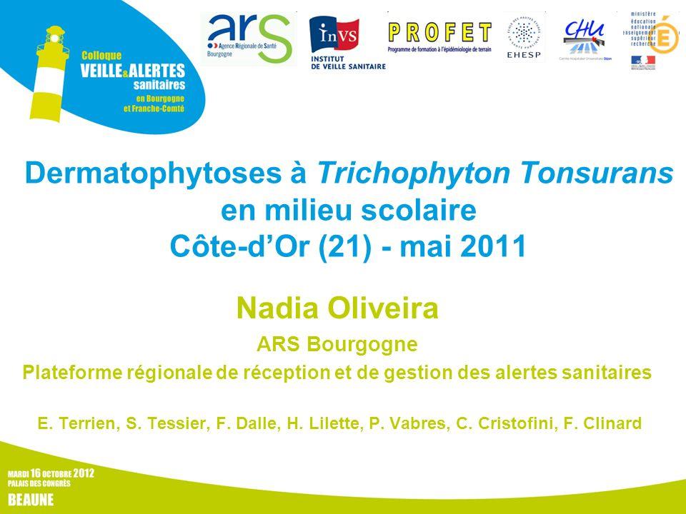 Dermatophytoses à Trichophyton Tonsurans en milieu scolaire Côte-dOr (21) - mai 2011 Nadia Oliveira ARS Bourgogne Plateforme régionale de réception et