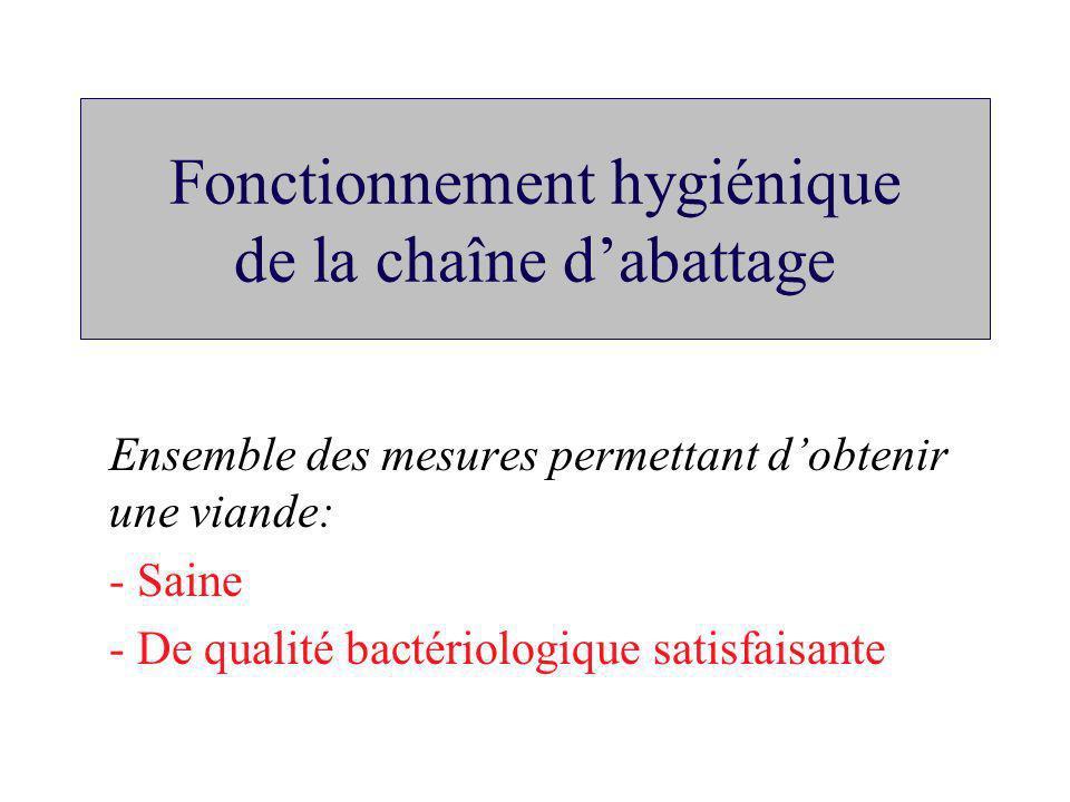 Fonctionnement hygiénique de la chaîne dabattage Ensemble des mesures permettant dobtenir une viande: - Saine - De qualité bactériologique satisfaisan