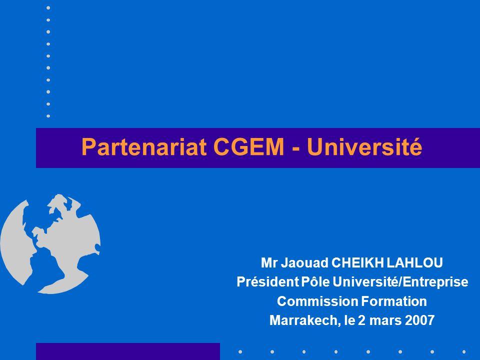 Partenariat CGEM - Université Mr Jaouad CHEIKH LAHLOU Président Pôle Université/Entreprise Commission Formation Marrakech, le 2 mars 2007