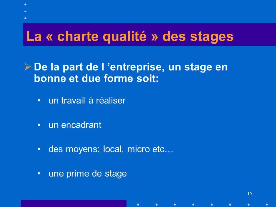 15 La « charte qualité » des stages De la part de l entreprise, un stage en bonne et due forme soit: un travail à réaliser un encadrant des moyens: lo