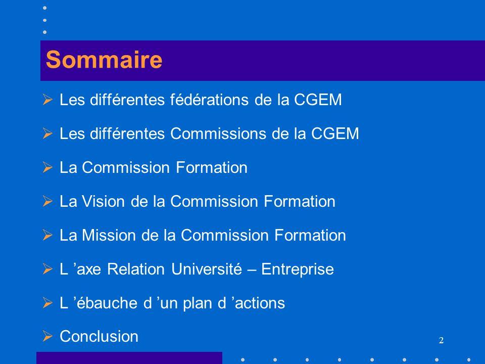 2 Sommaire Les différentes fédérations de la CGEM Les différentes Commissions de la CGEM La Commission Formation La Vision de la Commission Formation