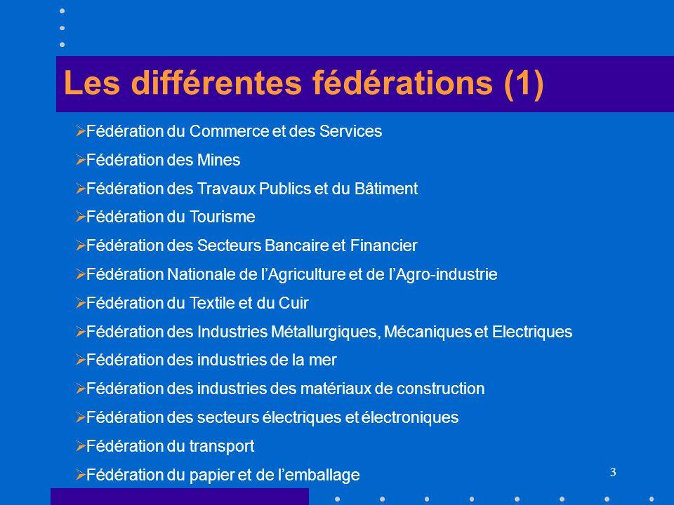 3 Les différentes fédérations (1) Fédération du Commerce et des Services Fédération des Mines Fédération des Travaux Publics et du Bâtiment Fédération