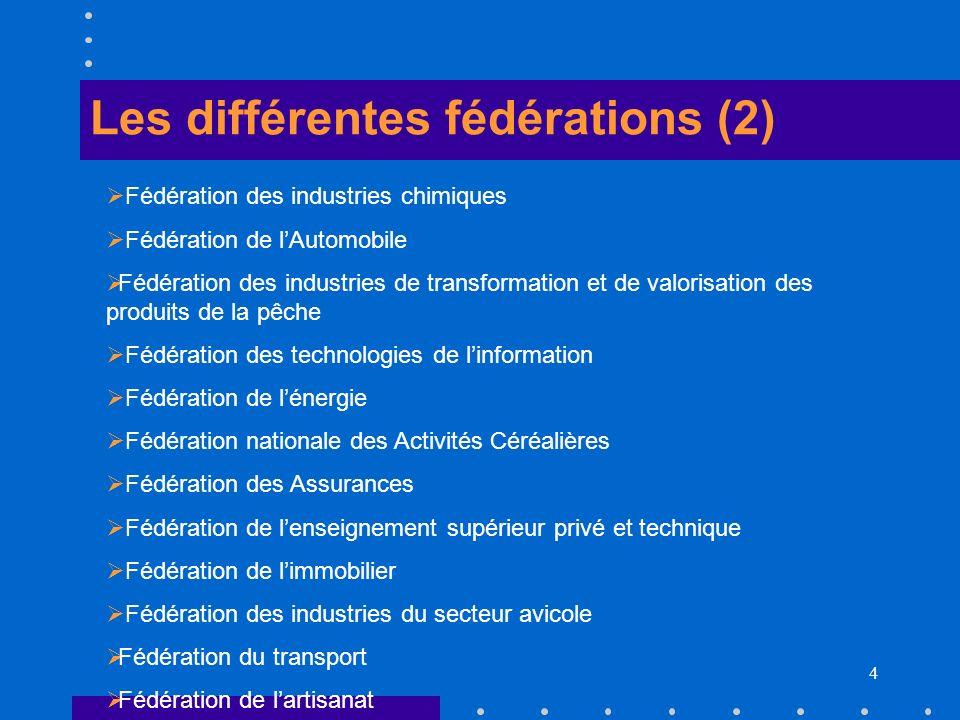 4 Les différentes fédérations (2) Fédération des industries chimiques Fédération de lAutomobile Fédération des industries de transformation et de valo