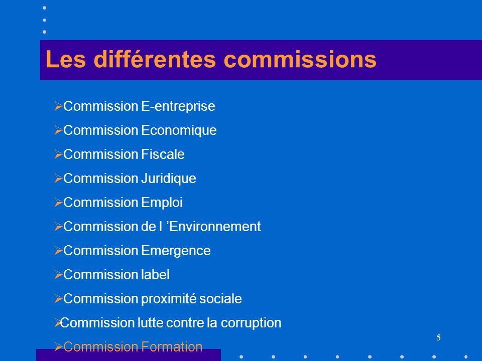 5 Les différentes commissions Commission E-entreprise Commission Economique Commission Fiscale Commission Juridique Commission Emploi Commission de l