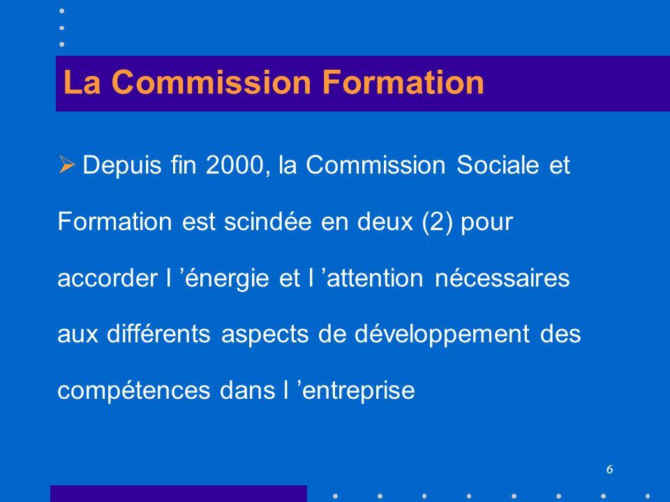 6 La Commission Formation Depuis fin 2000, la Commission Sociale et Formation est scindée en deux (2) pour accorder l énergie et l attention nécessair