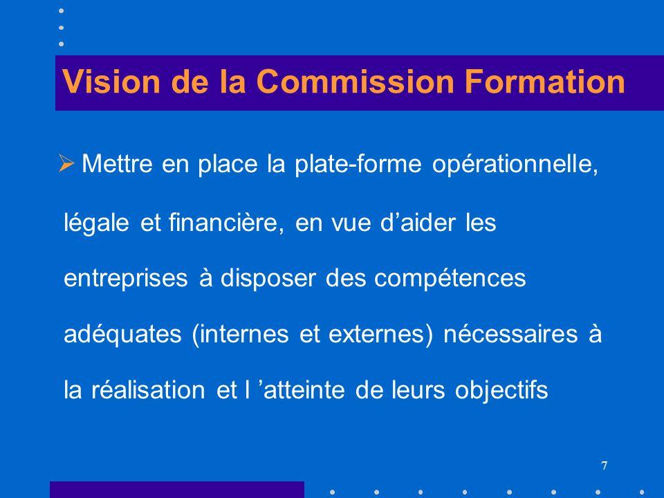7 Vision de la Commission Formation Mettre en place la plate-forme opérationnelle, légale et financière, en vue daider les entreprises à disposer des