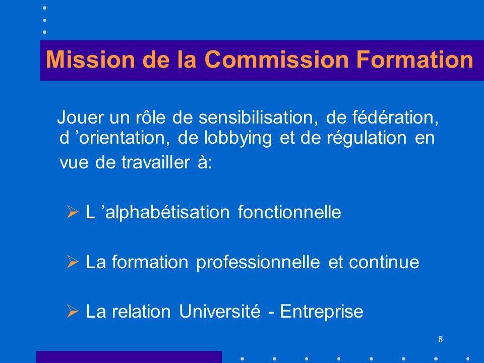 8 Mission de la Commission Formation Jouer un rôle de sensibilisation, de fédération, d orientation, de lobbying et de régulation en vue de travailler