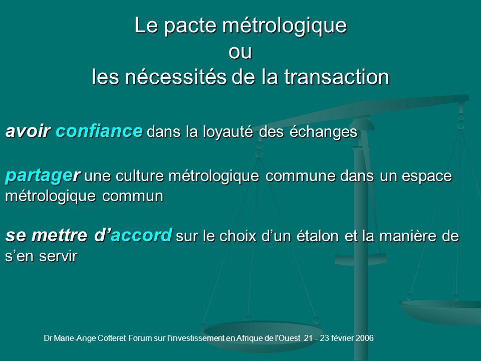 Dr Marie-Ange Cotteret Forum sur l investissement en Afrique de l Ouest 21 - 23 février 2006 Métrologie scientifique Kilogramme Matérialisation du mètre Photos INM/ CNAM Paris Matérialisation du point triple de leau