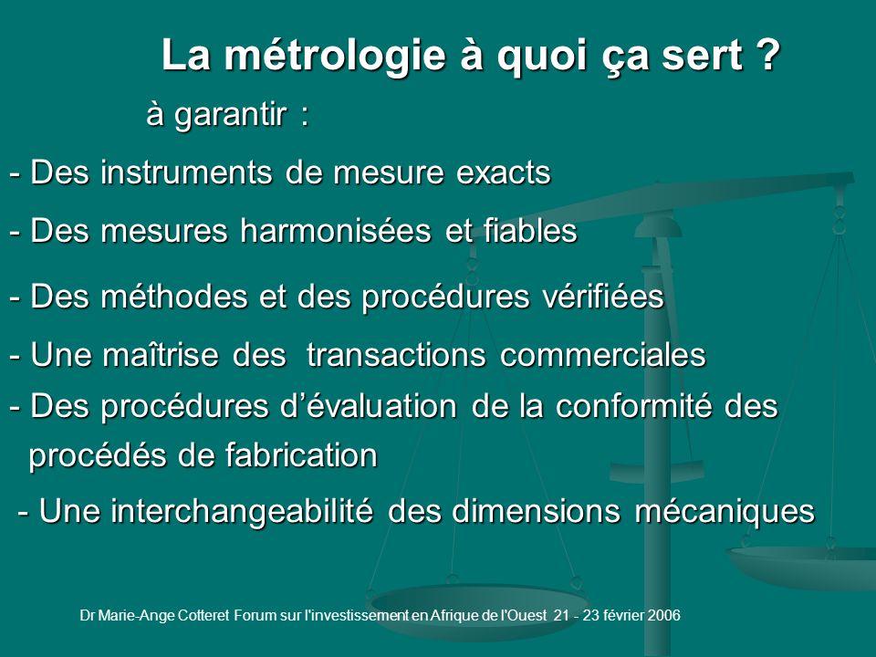 Dr Marie-Ange Cotteret Forum sur l investissement en Afrique de l Ouest 21 - 23 février 2006 La métrologie industrielle ça sert à quoi .