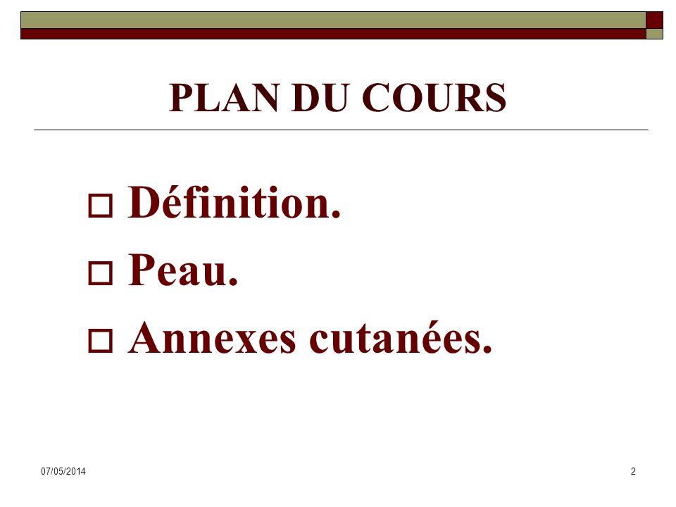 07/05/20142 PLAN DU COURS Définition. Peau. Annexes cutanées.