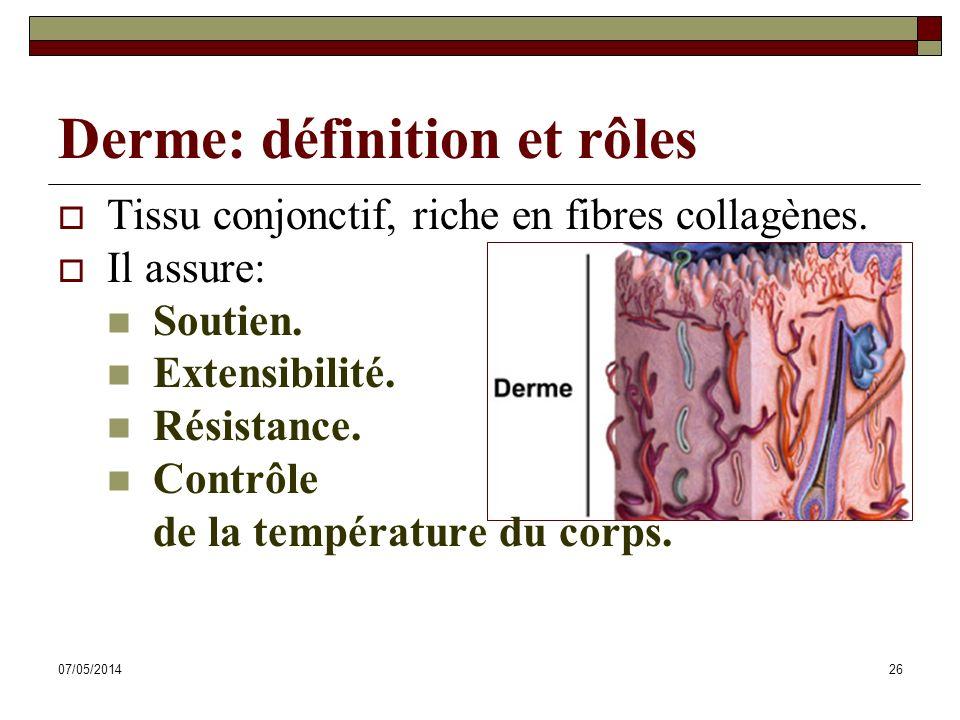 07/05/201426 Derme: définition et rôles Tissu conjonctif, riche en fibres collagènes. Il assure: Soutien. Extensibilité. Résistance. Contrôle de la te