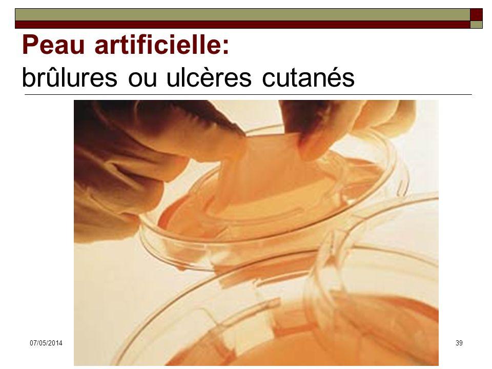 07/05/2014Dr. ABDALLAH - Système tégumentaire39 Peau artificielle: brûlures ou ulcères cutanés