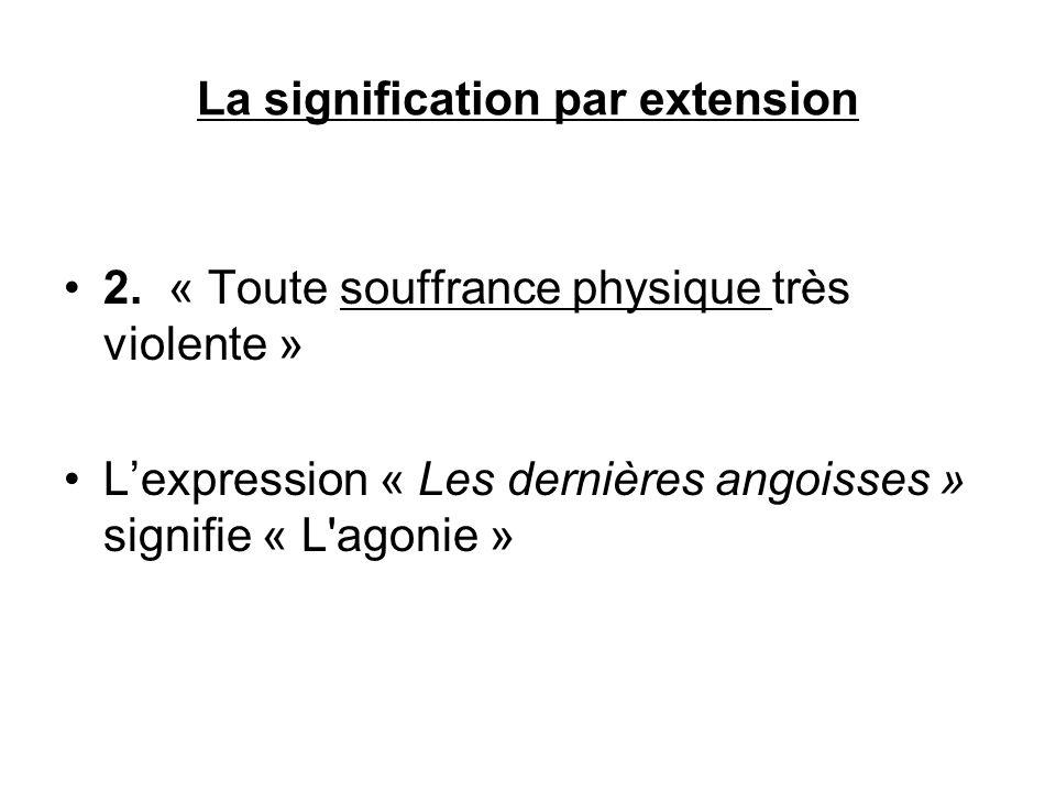 La signification par extension 2. « Toute souffrance physique très violente » Lexpression « Les dernières angoisses » signifie « L'agonie »