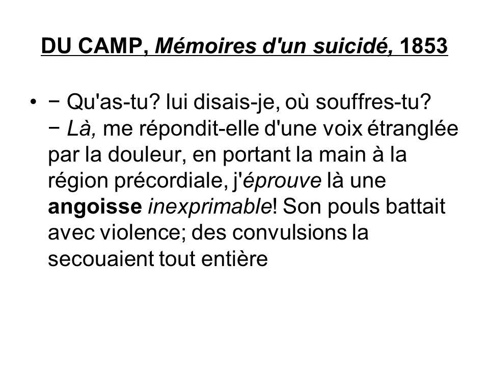 DU CAMP, Mémoires d'un suicidé, 1853 Qu'as-tu? lui disais-je, où souffres-tu? Là, me répondit-elle d'une voix étranglée par la douleur, en portant la