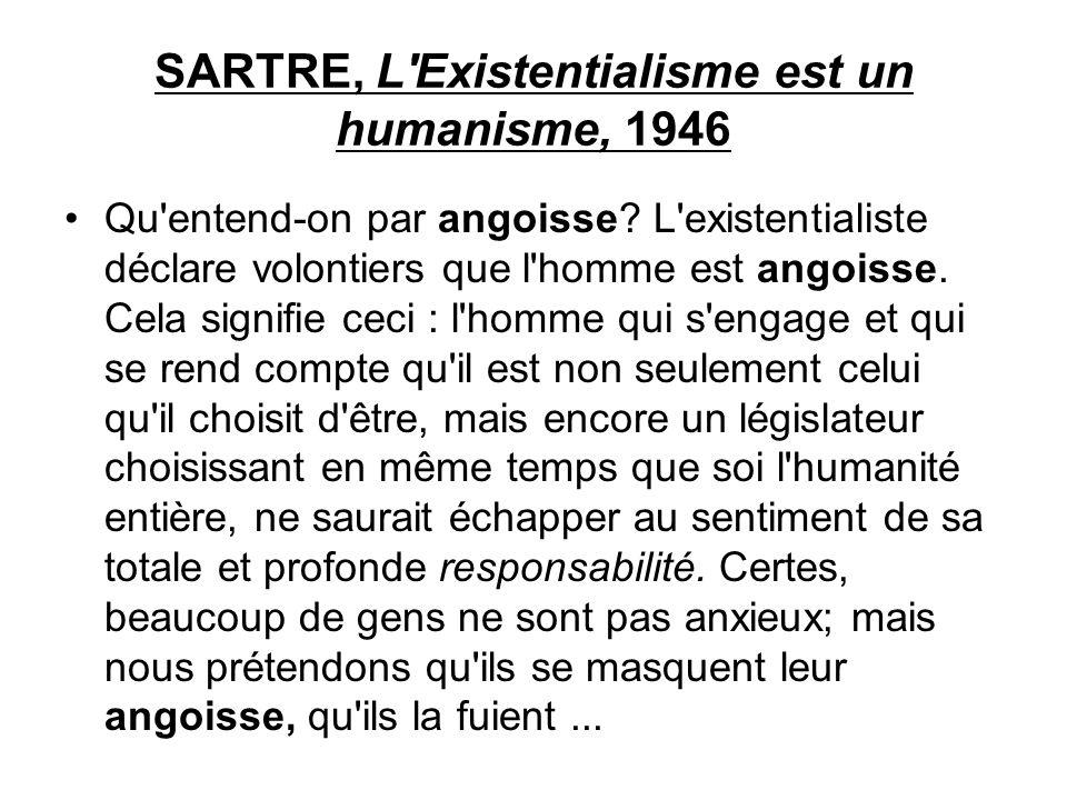 SARTRE, L'Existentialisme est un humanisme, 1946 Qu'entend-on par angoisse? L'existentialiste déclare volontiers que l'homme est angoisse. Cela signif
