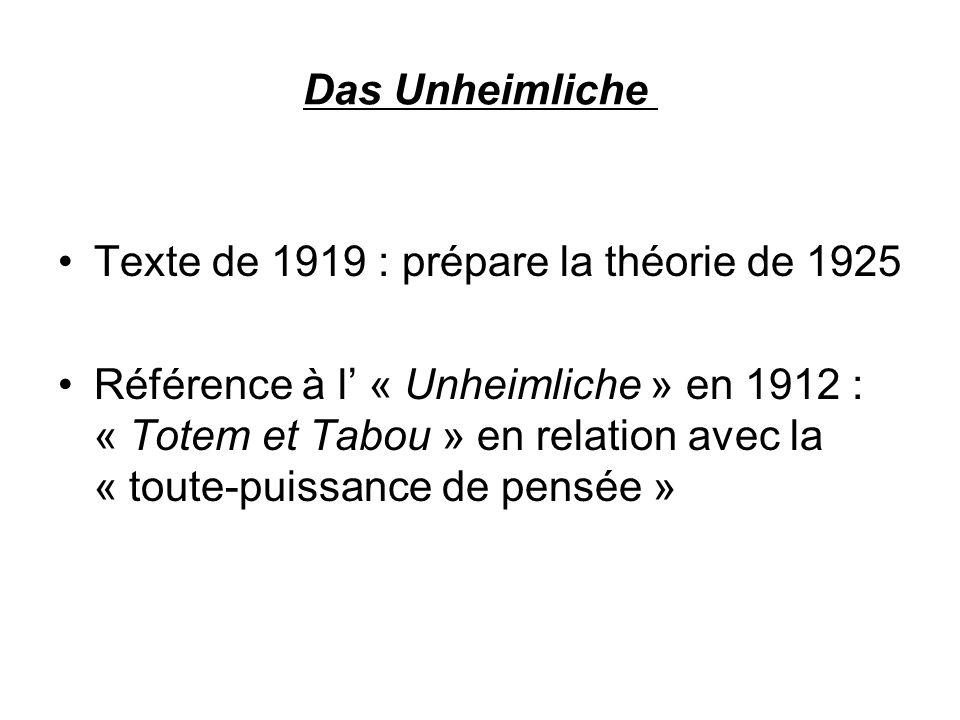 Das Unheimliche Texte de 1919 : prépare la théorie de 1925 Référence à l « Unheimliche » en 1912 : « Totem et Tabou » en relation avec la « toute-puis