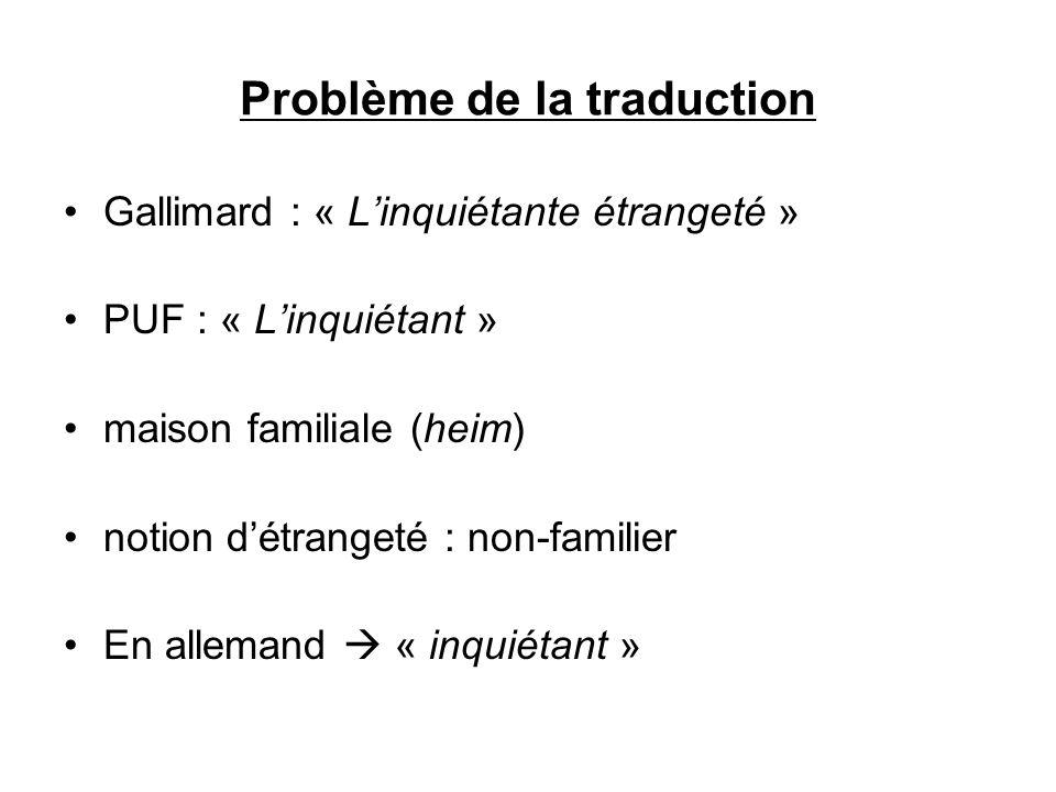 Problème de la traduction Gallimard : « Linquiétante étrangeté » PUF : « Linquiétant » maison familiale (heim) notion détrangeté : non-familier En all