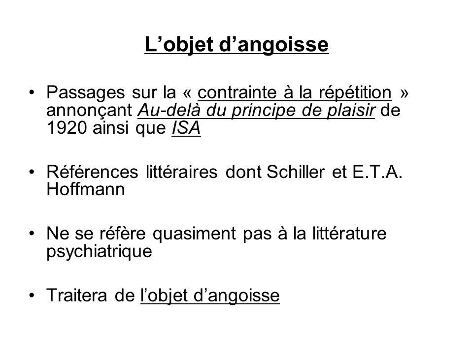Lobjet dangoisse Passages sur la « contrainte à la répétition » annonçant Au-delà du principe de plaisir de 1920 ainsi que ISA Références littéraires