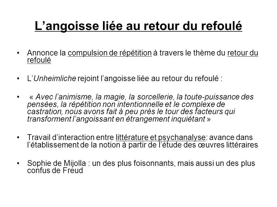 Langoisse liée au retour du refoulé Annonce la compulsion de répétition à travers le thème du retour du refoulé LUnheimliche rejoint langoisse liée au