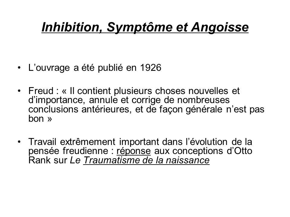 Inhibition, Symptôme et Angoisse Louvrage a été publié en 1926 Freud : « Il contient plusieurs choses nouvelles et dimportance, annule et corrige de n
