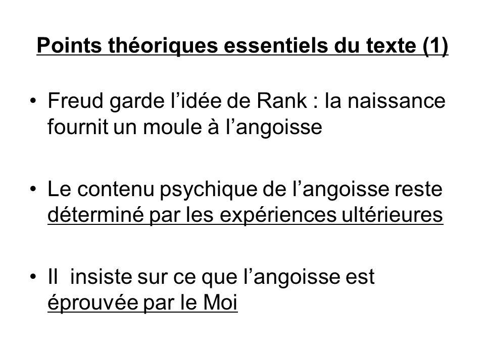 Points théoriques essentiels du texte (1) Freud garde lidée de Rank : la naissance fournit un moule à langoisse Le contenu psychique de langoisse rest
