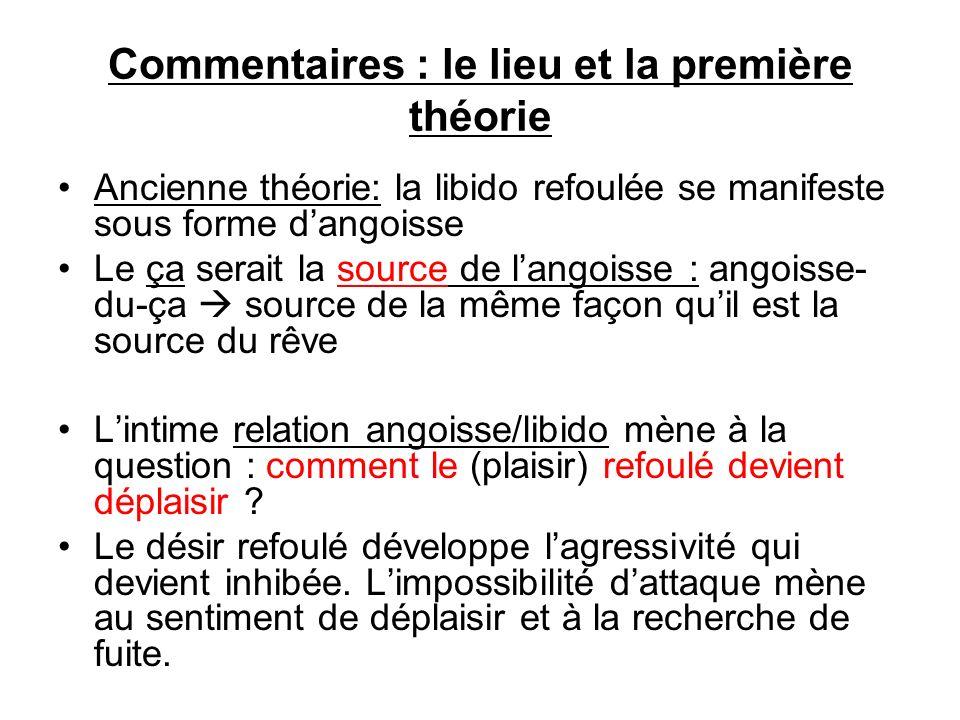 Commentaires : le lieu et la première théorie Ancienne théorie: la libido refoulée se manifeste sous forme dangoisse Le ça serait la source de langois